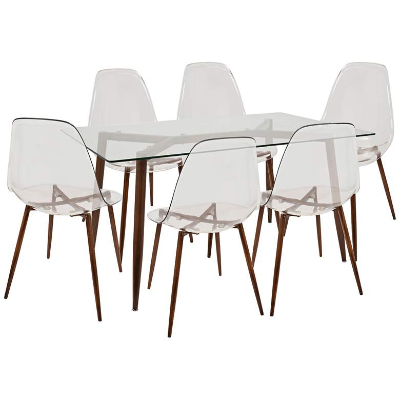"Clara 59"" Wide Clear and Walnut 7-Piece Modern"