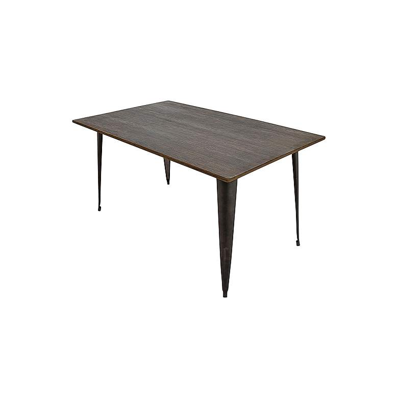 """Oregon 36""""W Espresso Bamboo and Antique Metal Dining Table"""