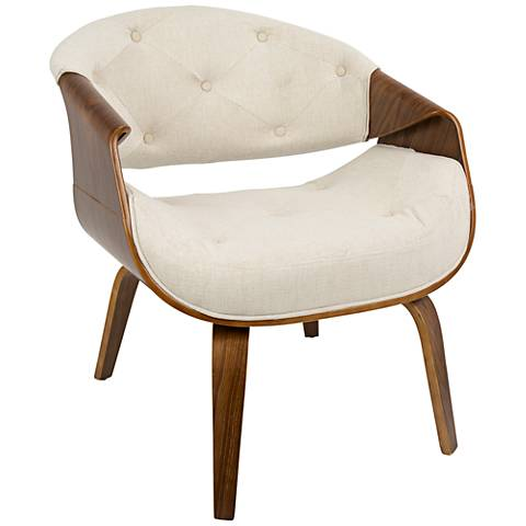 Curvo Cream Fabric Button-Tufted Accent Chair