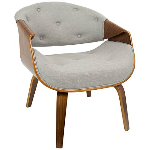 Curvo Gray Fabric Button-Tufted Accent Chair