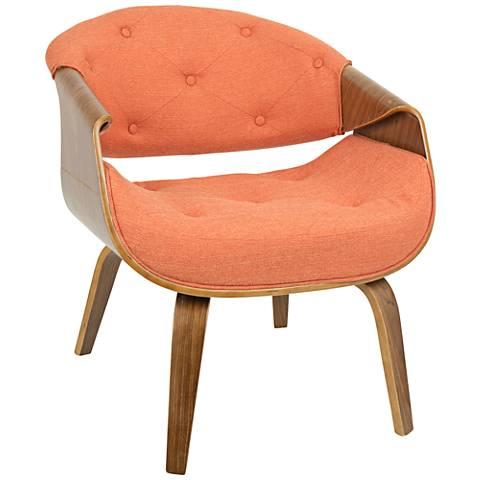 Curvo Orange Fabric Button-Tufted Accent Chair