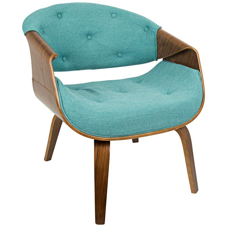 Curvo Teal Fabric Button-Tufted Accent Chair
