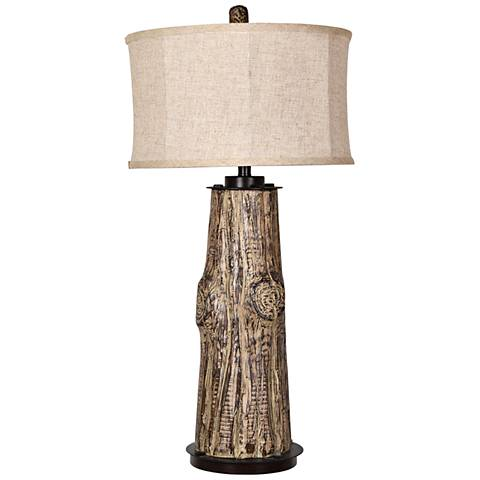 Crestview Collection Harlow Wood and Black Table Lamp