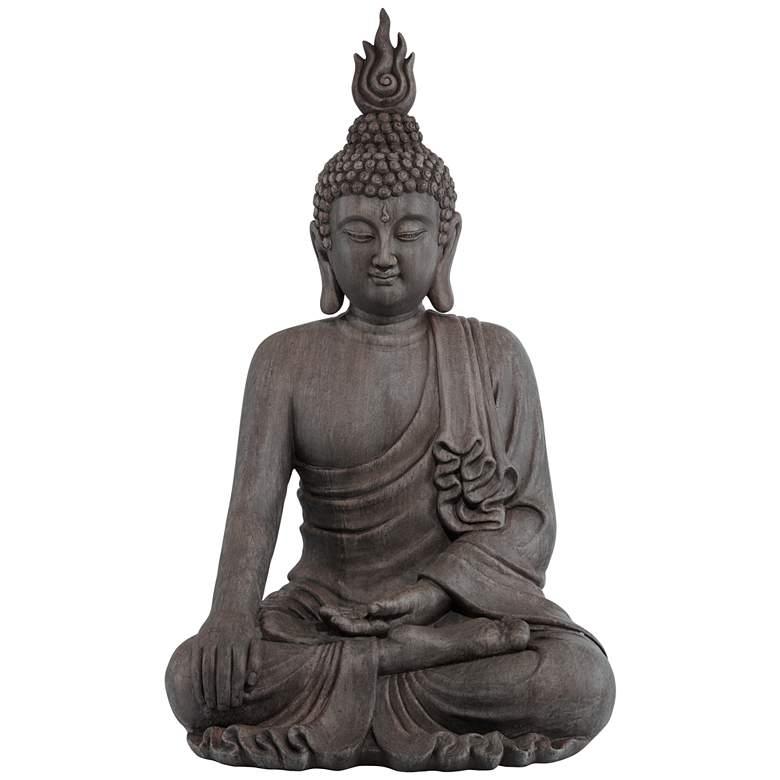 "Sitting Buddha 42"" High Gray Ceramic Indoor-Outdoor Statue"