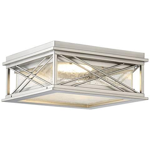 "Possini Euro Kris 14""W Nickel LED Outdoor Ceiling Light"