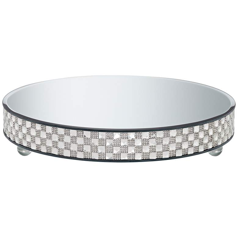 "Ashley Silver Mirror-Top 13 3/4"" Round Cake Stand"