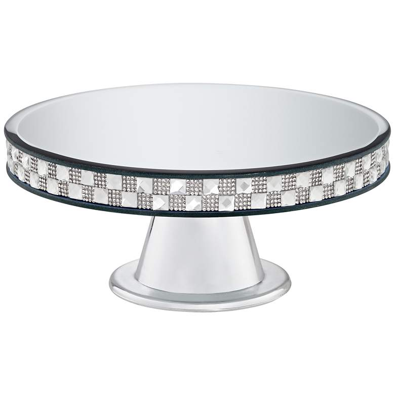 "Ashley Silver Mirror-Top 9 3/4"" Round Pedestal Cake"