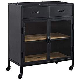 Charm 31 1 2 Wide Lacquered Black Drawer Rolling Cabinet