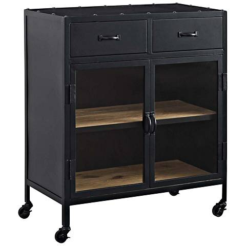 Charm Lacquered Black 2-Drawer Cabinet