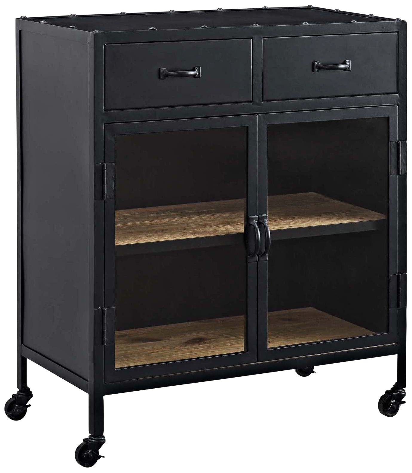 Charm Lacquered Black 2 Drawer Cabinet