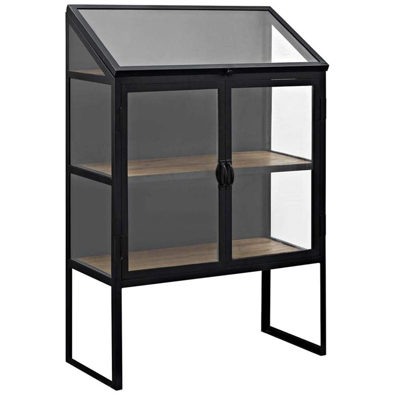 "Settle 33"" Wide Brown and Black 2-Door Display Cabinet"