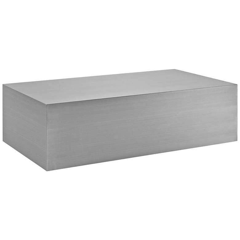 "Silver Stainless Steel 54 1/2"" Rectangular Coffee Table"