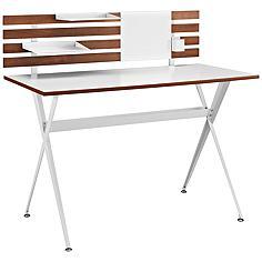 "Knack 47"" Wide Cherry and White Modern Office Desk"