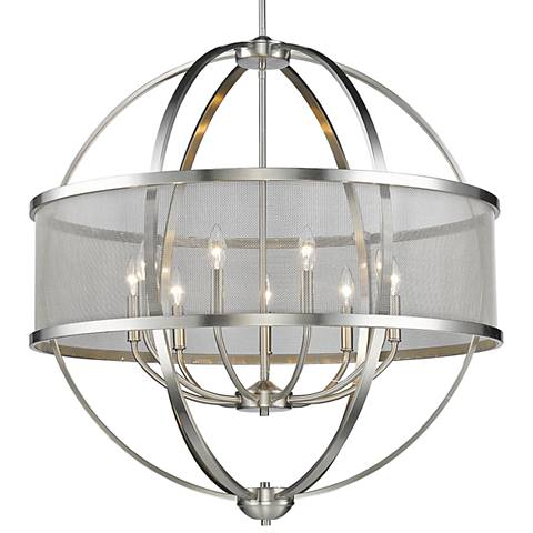 "Colson 32 3/4"" Wide Pewter 9-Light Chandelier"