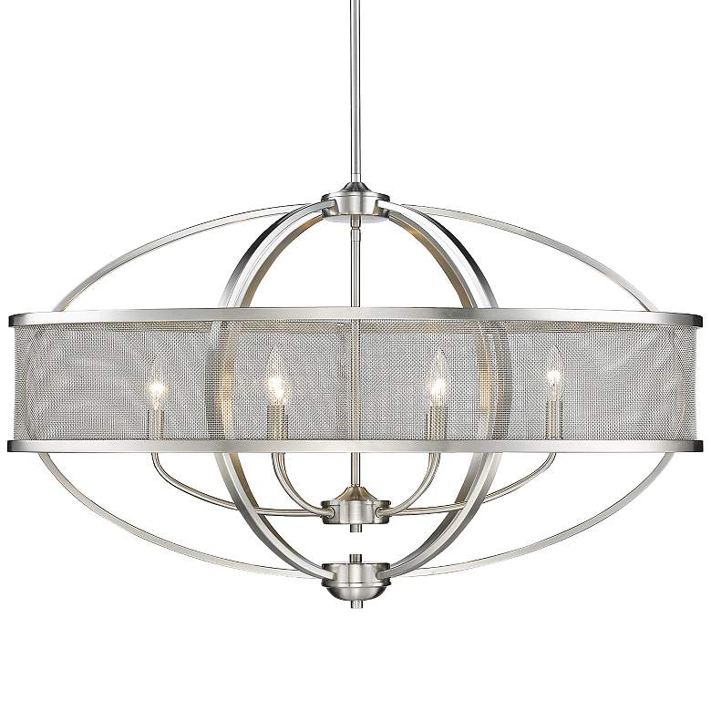 """Colson 36 1/4"""" Wide Pewter 6-Light Oval Chandelier"""