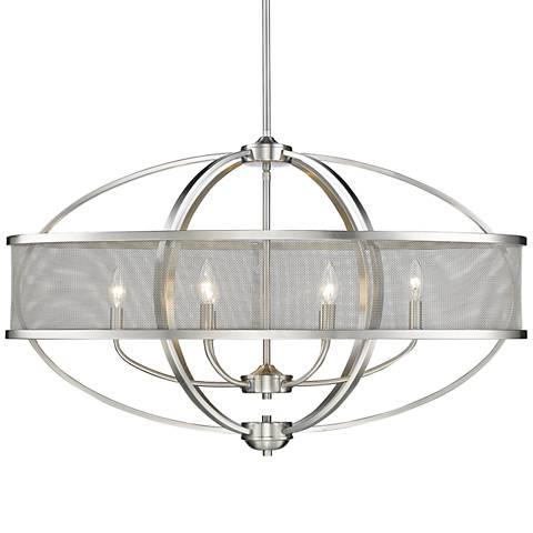 """Colson 36 1/4"""" Wide Pewter 6-Light Chandelier"""