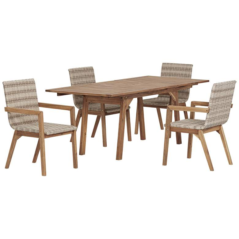 Vancouver Natural Wood and Wicker 5-Piece Outdoor Dining Set