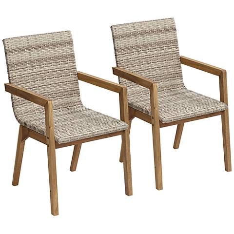 Vancouver Wicker Outdoor Dining Armchairs Set of 2