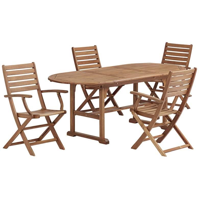 Capri Natural Wood 5-Piece Outdoor Patio Dining Set