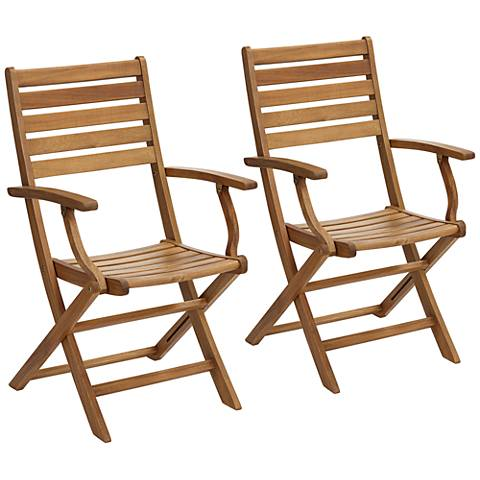 Capri Natural Wood Folding Outdoor Dining Armchairs Set of 2