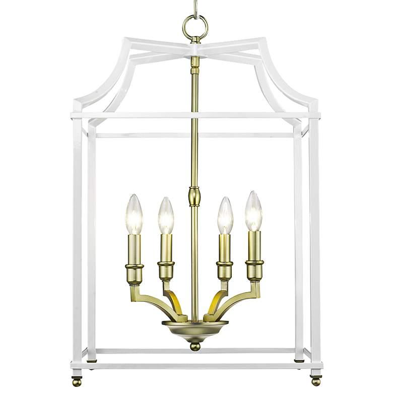 "Leighton 16 3/4"" Wide Satin Brass and White 4-Light Pendant"