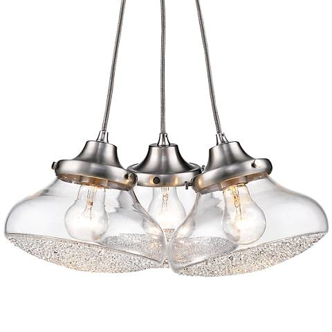 "Asha 17"" Wide Pewter 3-Light Cluster Pendant"