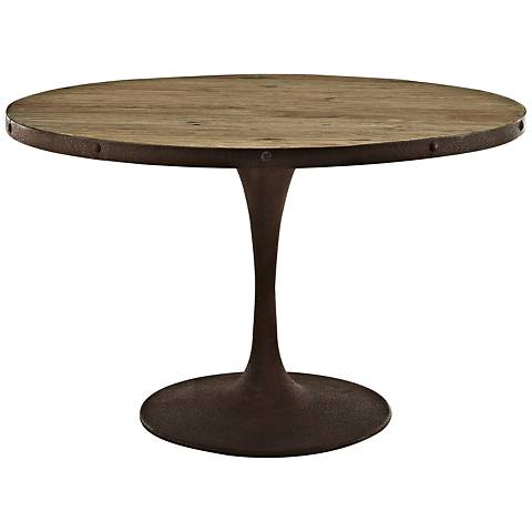 """Drive 47"""" Wide Brown Medium Round Dining Table"""