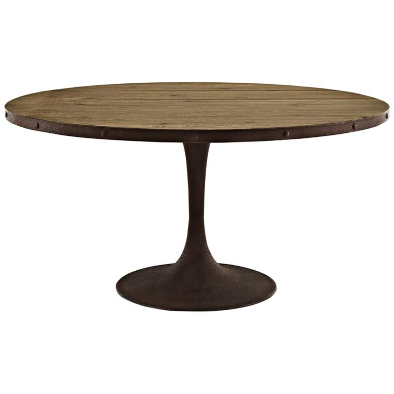 """Drive 60"""" Wide Brown Large Round Dining Table"""