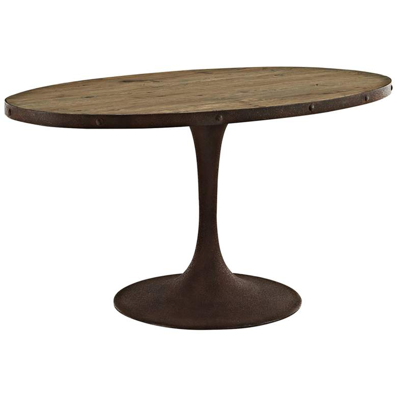 """Drive 60"""" Wide Brown Medium Oval Dining Table"""
