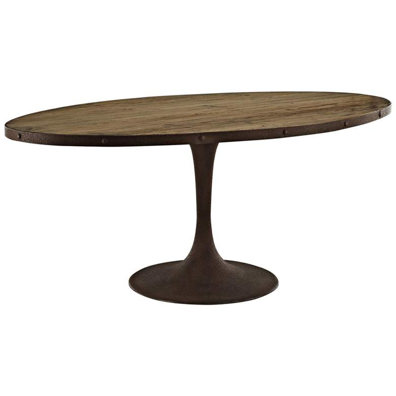 """Drive 78"""" Wide Brown Large Oval Dining Table"""