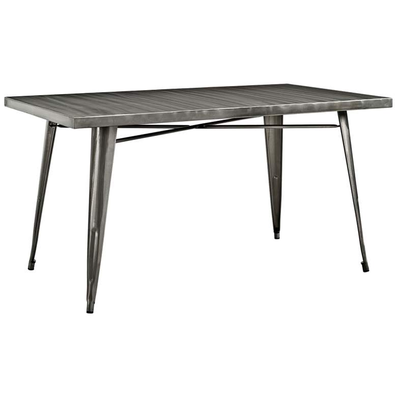 "Alacrity 59 1/2"" Wide Gunmetal Gray Rectangular Dining"