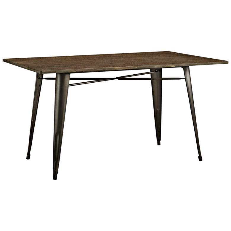 """Alacrity 59"""" Wide Brown and Gray Rectangular Dining Table"""