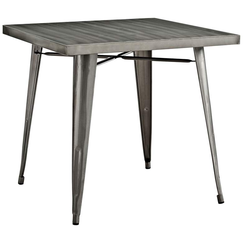 "Alacrity 32"" Wide Gunmetal Gray Square Metal Dining"