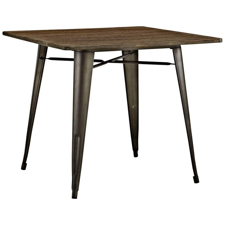 """Alacrity 36"""" Wide Brown and Gunmetal Square Dining Table"""
