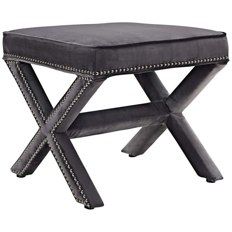 Rivet Gray Velvet Fabric Bench