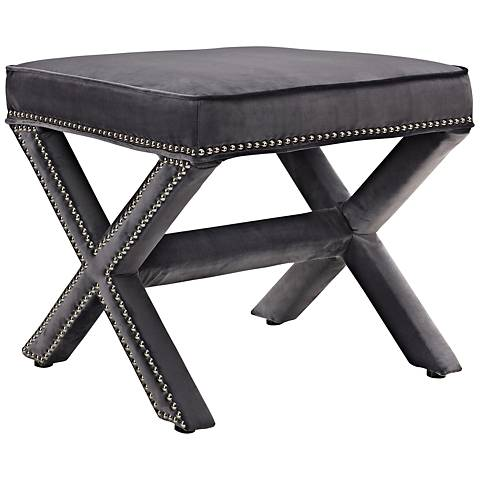 Rivet Gray Velvet Fabric Bench