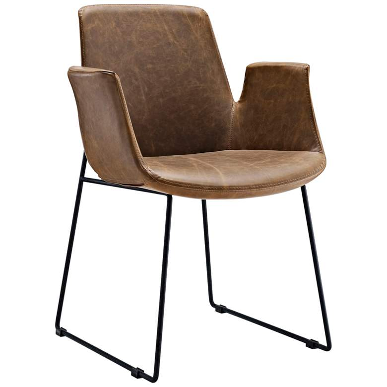 Aloft Brown Faux Leather Dining Chair