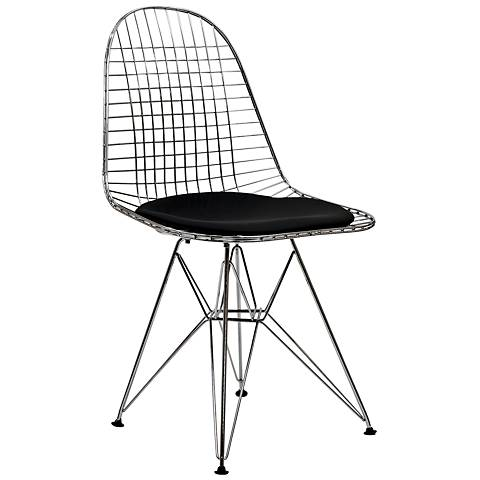 Tower Black Vinyl Indoor-Outdoor Dining Side Chair