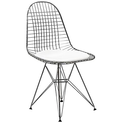 Tower White Vinyl Indoor-Outdoor Dining Side Chair