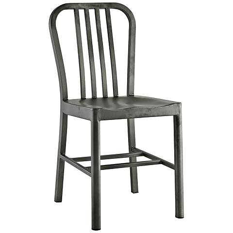 Clink Silver Metal Indoor-Outdoor Dining Side Chair