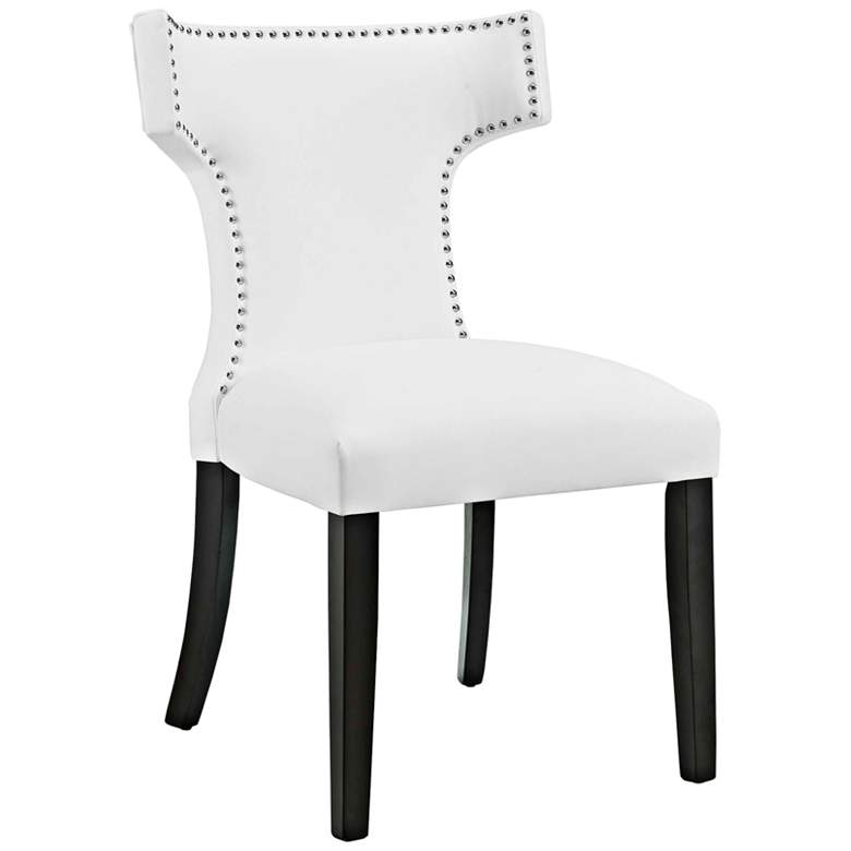 Curve White Vinyl Dining Chair