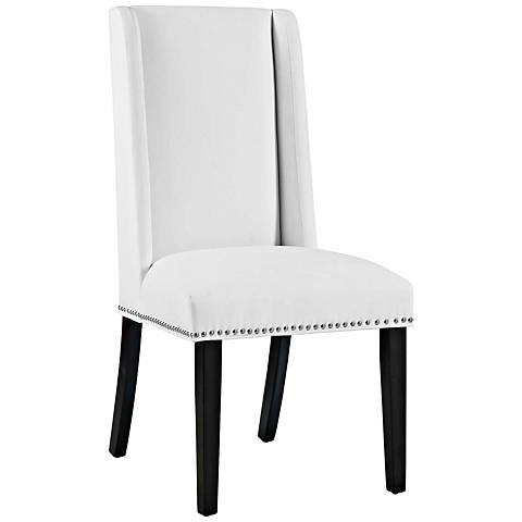 Baron White Vinyl Dining Chair
