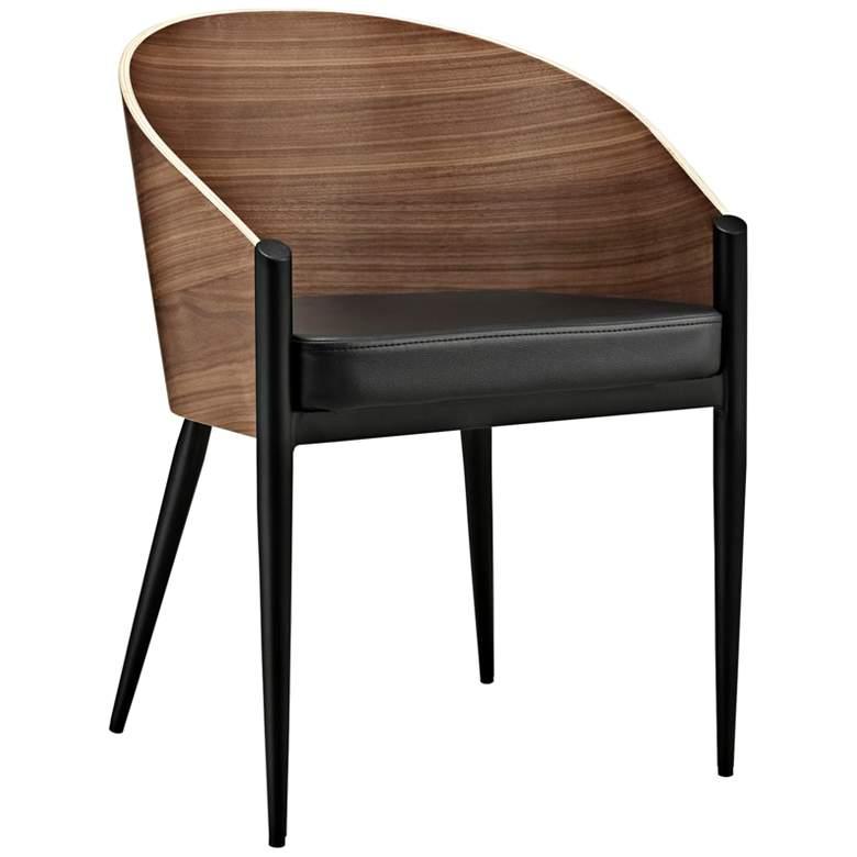 Cooper Black Vinyl and Walnut Wood Modern Dining Chair