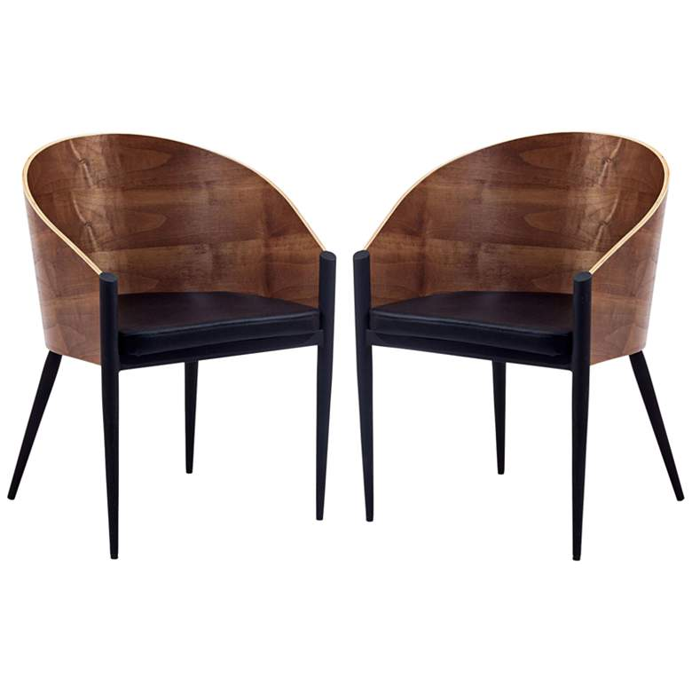 Cooper Black Vinyl and Walnut Wood Dining Chair Set of 2
