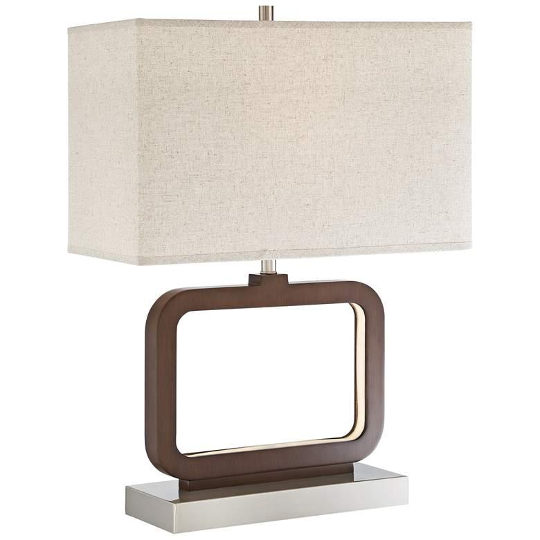 Lite Source Leonard Walnut LED Table Lamp w/ Night Light