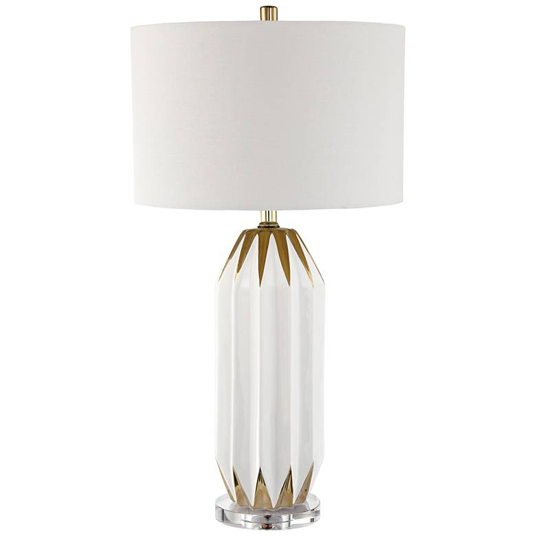 Lite Source Philana White and Gold Ceramic Table Lamp