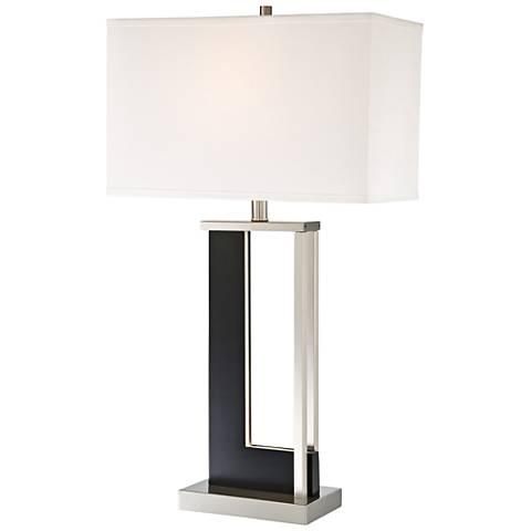 Theoris Dark Walnut LED Night Light Table Lamp