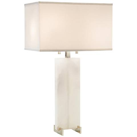 John Richard Honne Alabaster and Silver Metal Table Lamp