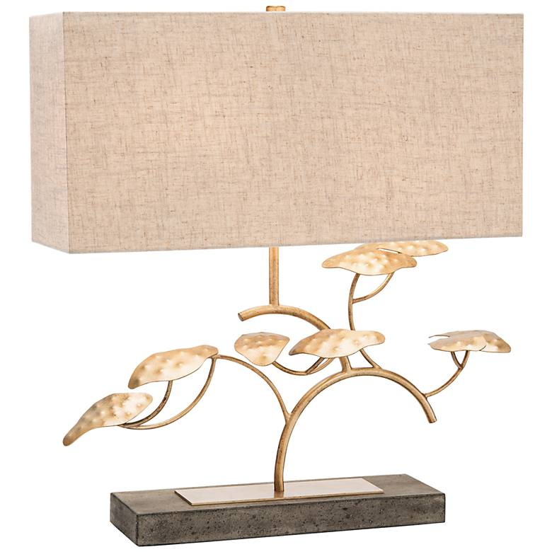 John Richard Zay Gray Concrete and Gold Leaf Tree Table Lamp