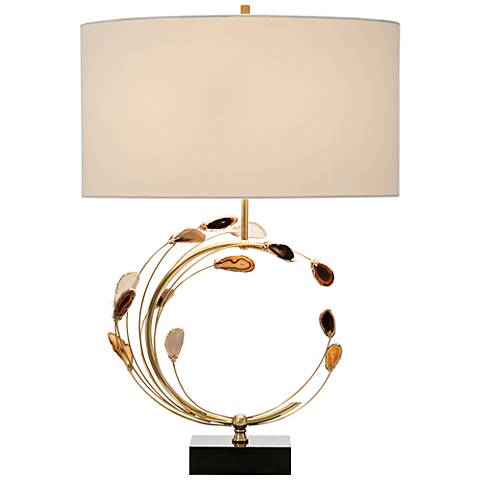 John Richard Arch Brown and Gold Swirling Agates Table Lamp
